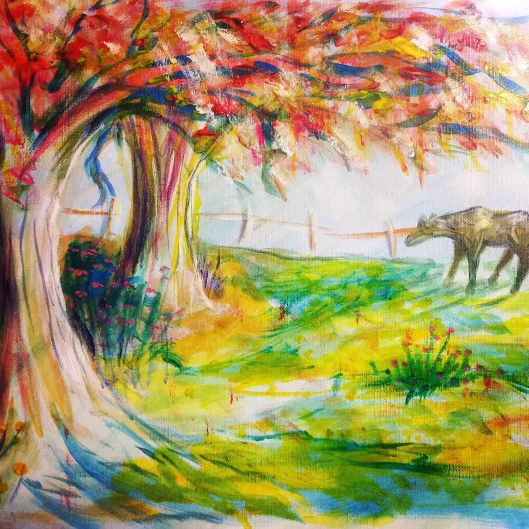 Horse painting with sunset shining across horse in meadow with ...