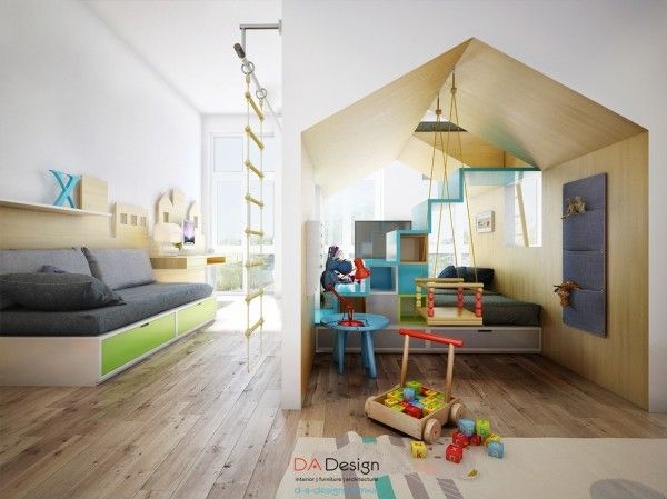 There is also a sofa at ground level that can easily convert to a bed, and plenty of tucked away storage for toys and games.