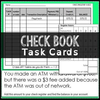 checkbook task cards math grades 7 12 pinterest math