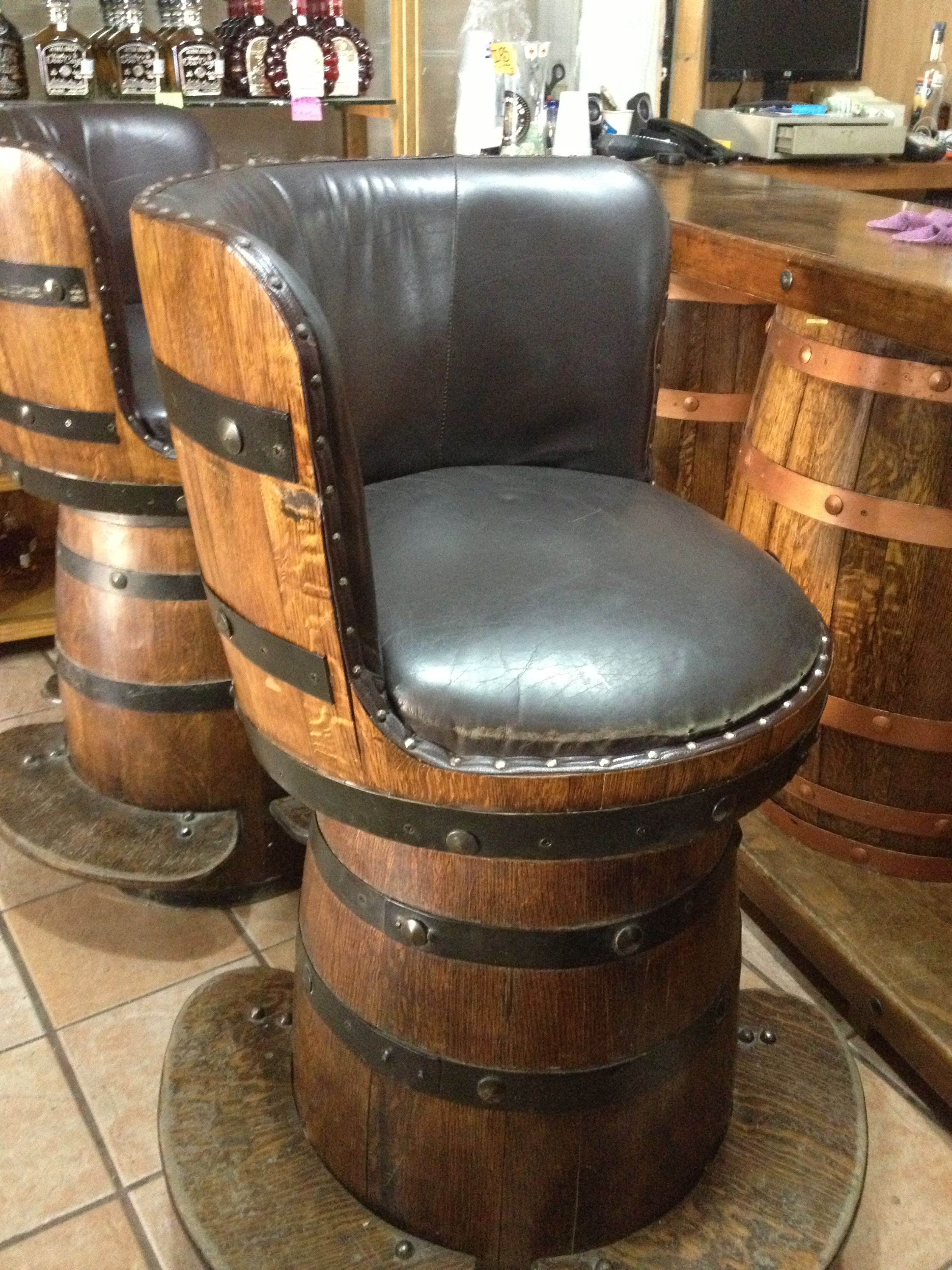 Bar Stools Made From Wine Barrels