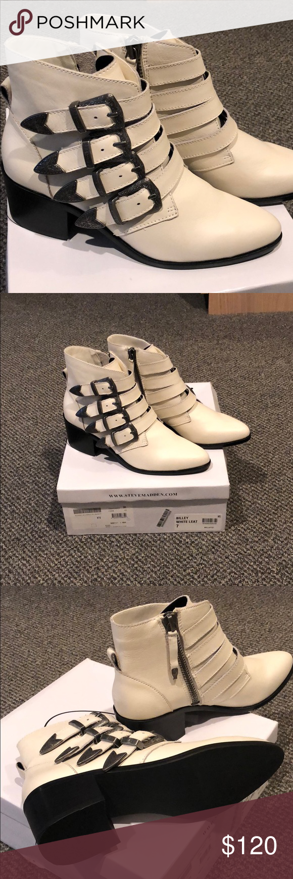 ef205da7fbb Brand New Steve Madden Billey Ankle Bootie Off White leather booties with  four buckle detail! Perfect for western trend yet timeless! Never worn.