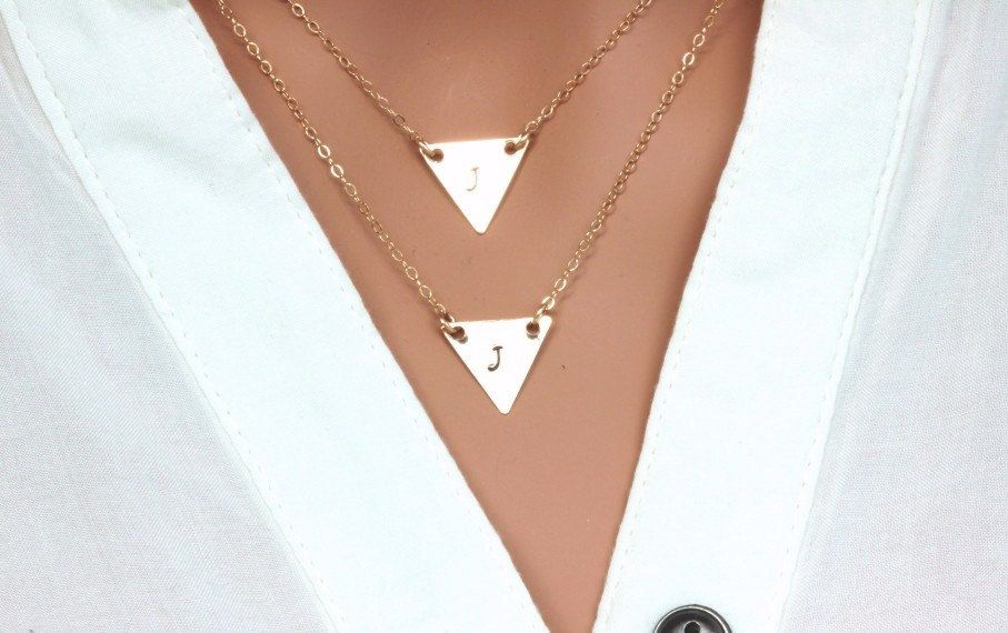 layers Triangular Necklace, Gold Trinangular Necklace, Triangle layering neckalce, 14k gold fill triangle neckalce.initial triangle neckalce by rainbowearring on Etsy https://www.etsy.com/listing/214057710/layers-triangular-necklace-gold