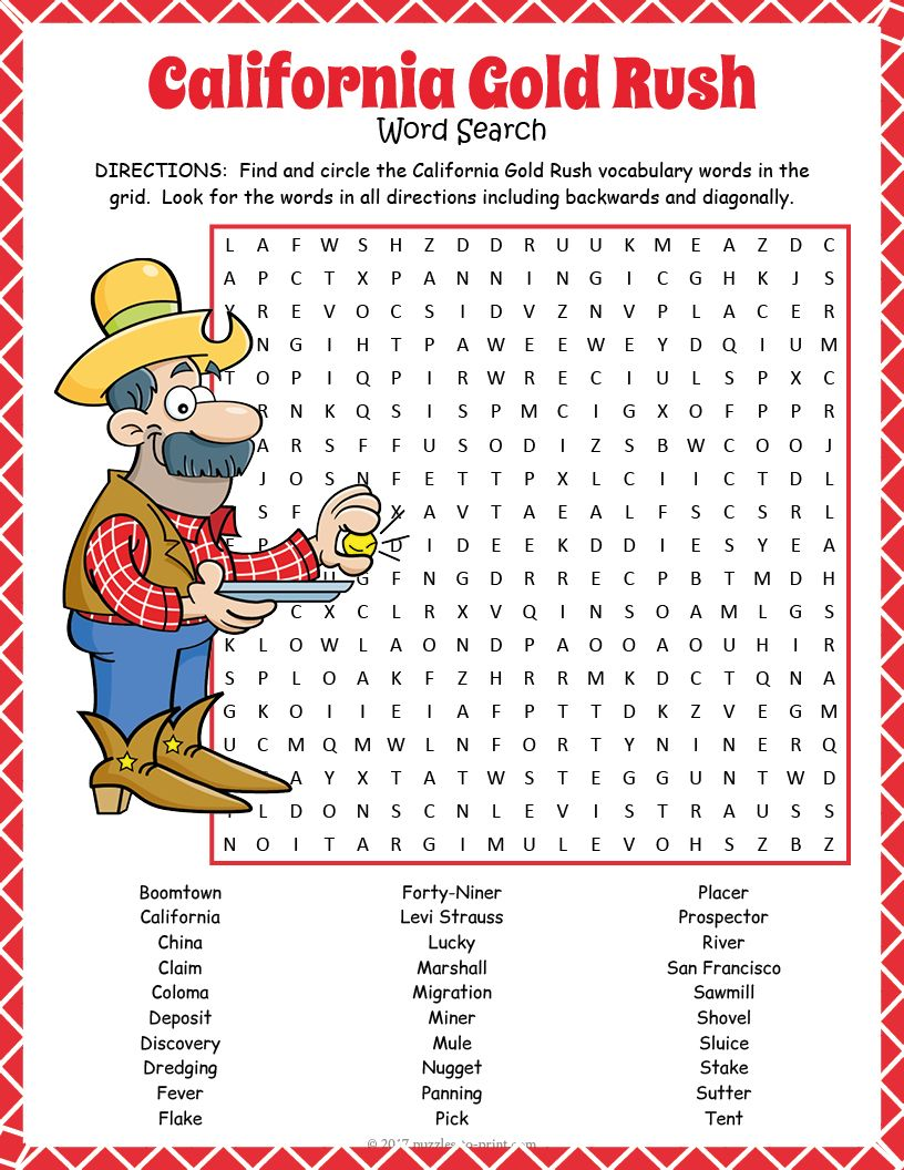 California Gold Rush word search worksheet activity for history class or a  party.   California gold rush activities [ 1056 x 816 Pixel ]