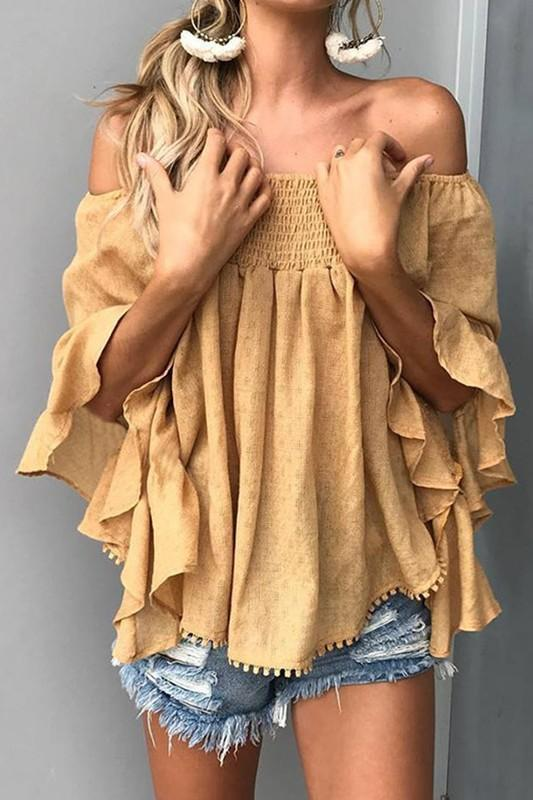 341f3833ea043 Mustard cold shoulder top with bell sleeves. in 2019