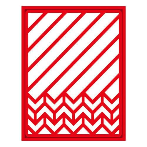 """The Diagonal Chevron Shapeabilities Die Set by Spellbinders includes two dies that create a trendy, contemporary card design with plenty of interest. These dies work with most leading die-cutting machines and have an outside cut line. They are approximately 4 1/4"""" x 5 1/2"""" (border) and 3 7/8"""" x 5 3/16"""" (inset)."""