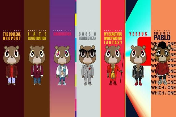 Photo of Kanye West Album Covers Poster (24×36) inches