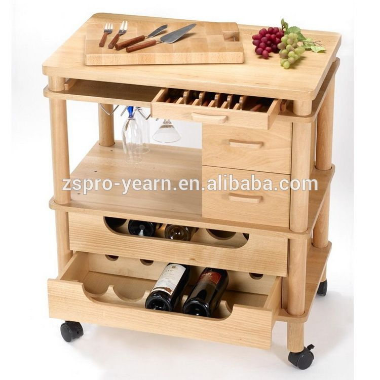 Wood Kitchen Service Trolley Cart With 4 Tiers 2 Drawers 2