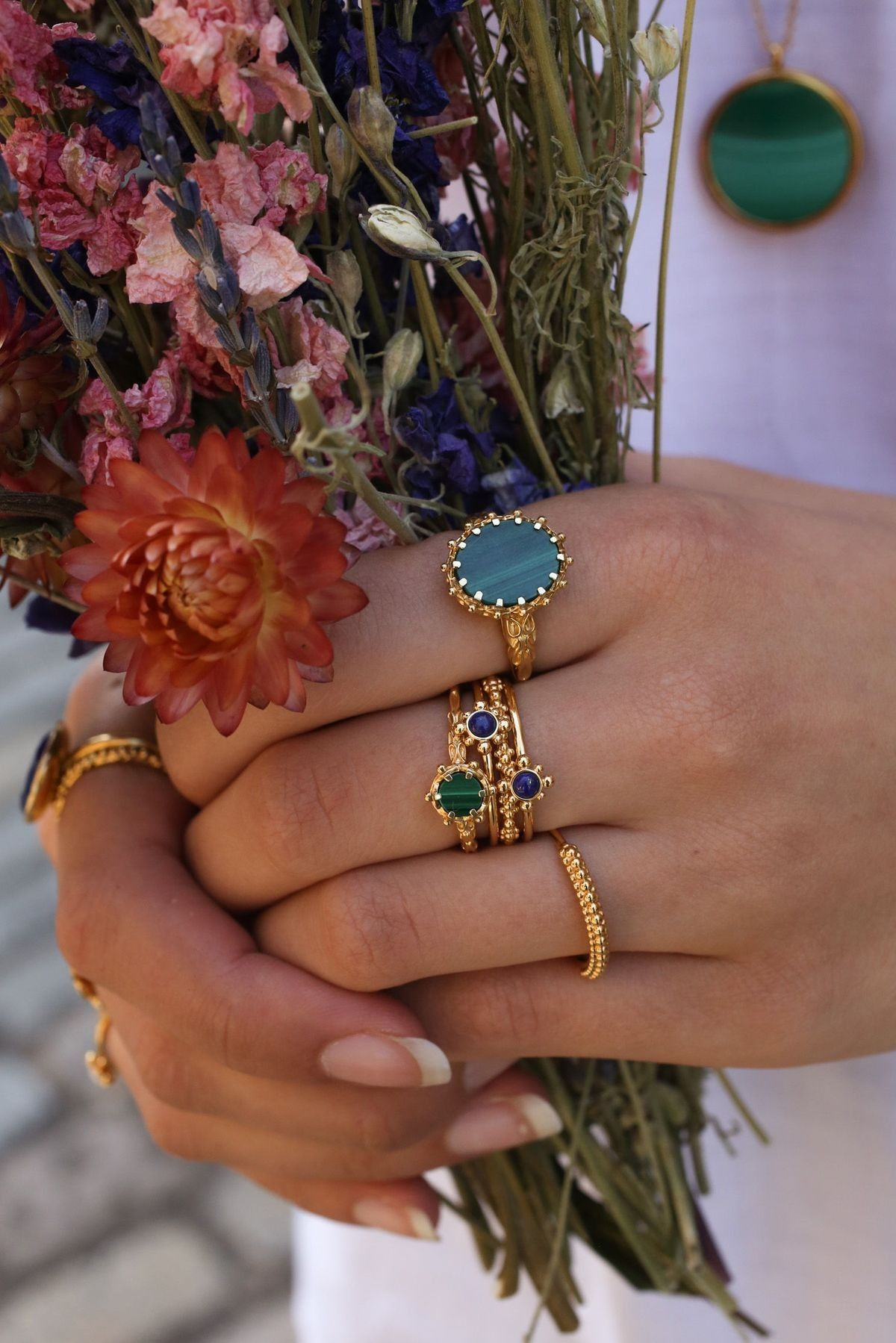 I Live This Indian Gold Semi Precious Stone Ring Stack
