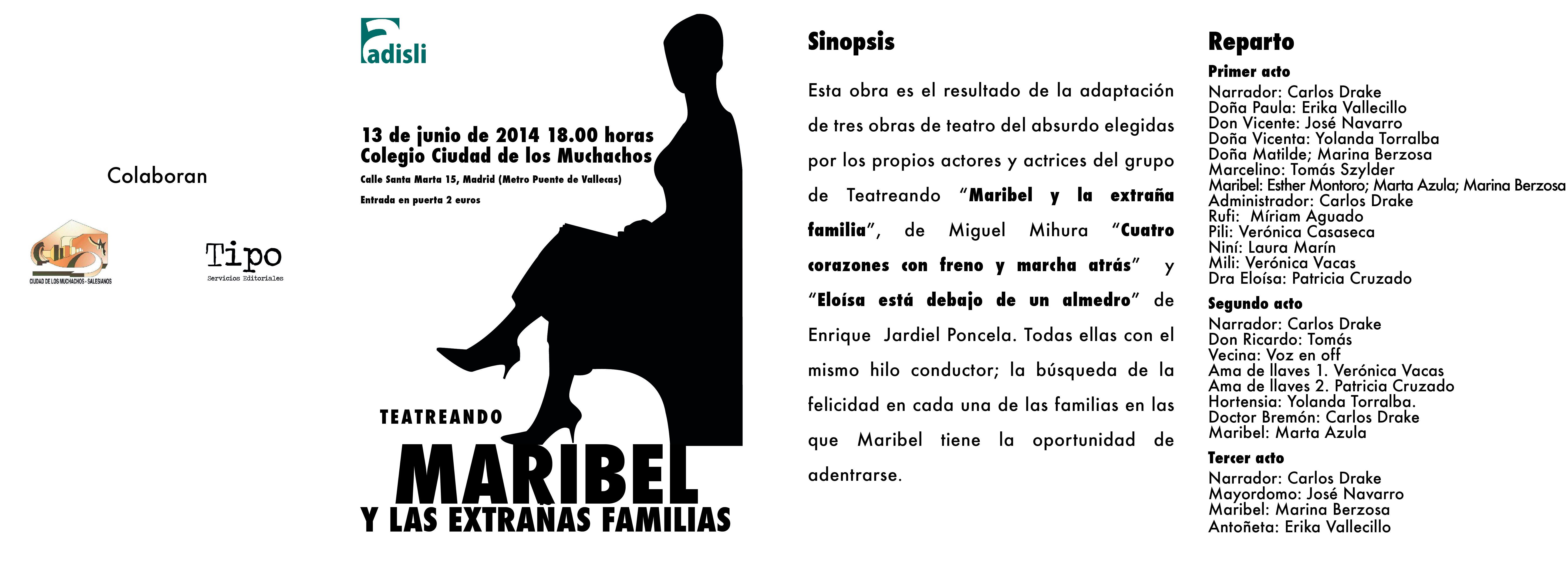 Libreto en formato díptico de la obra Maribel y las extrañas familias de Adisli