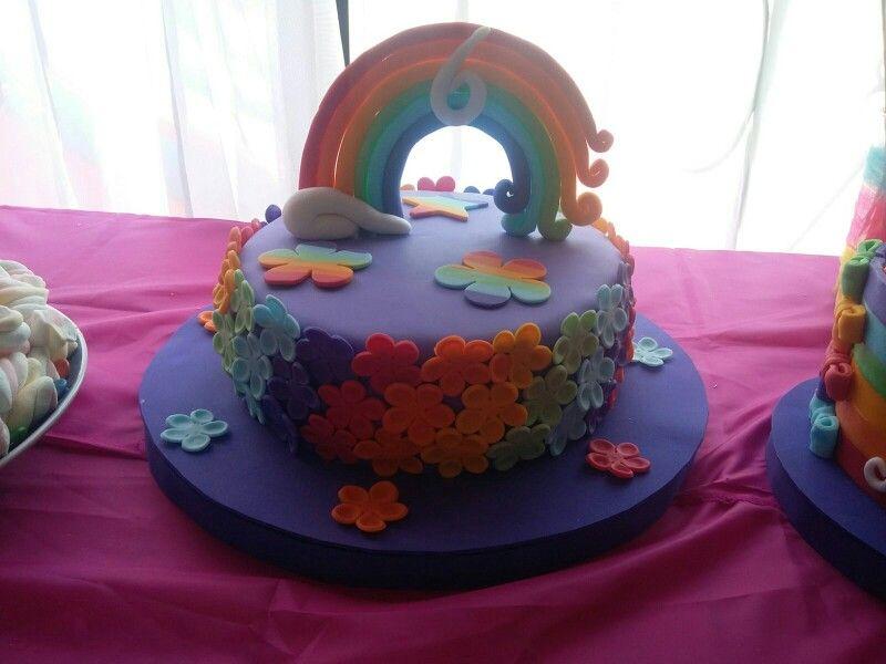 Torta flores arcoiris