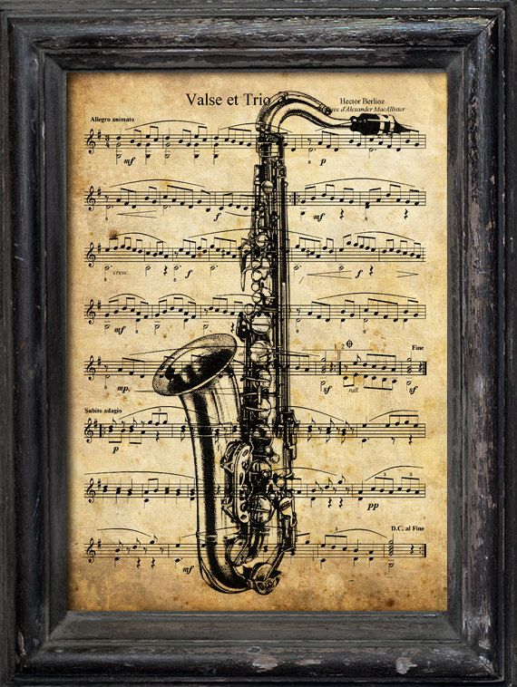 Print Art canvas or paper gift Collage Mixed Media Saxophone ...