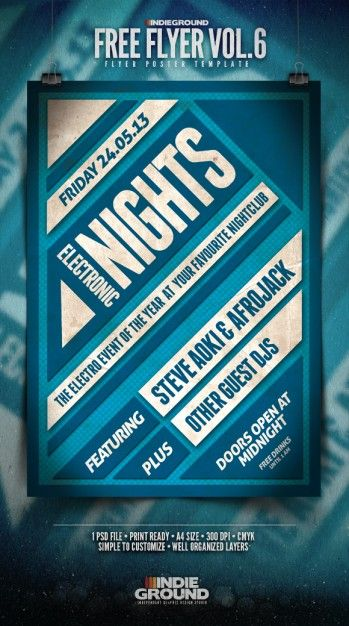 electronic music flyer template psd design gráfico pinterest