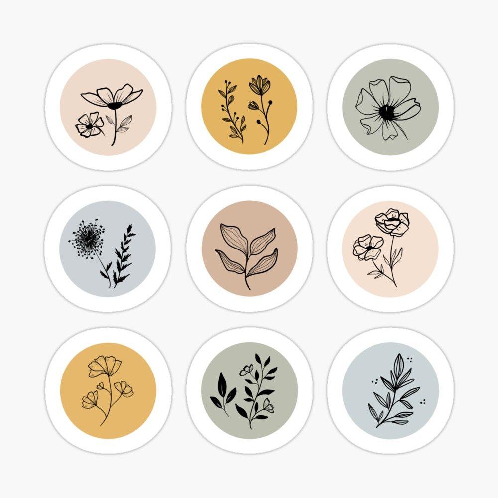 Boho Floral Pattern Sticker by lashayarts