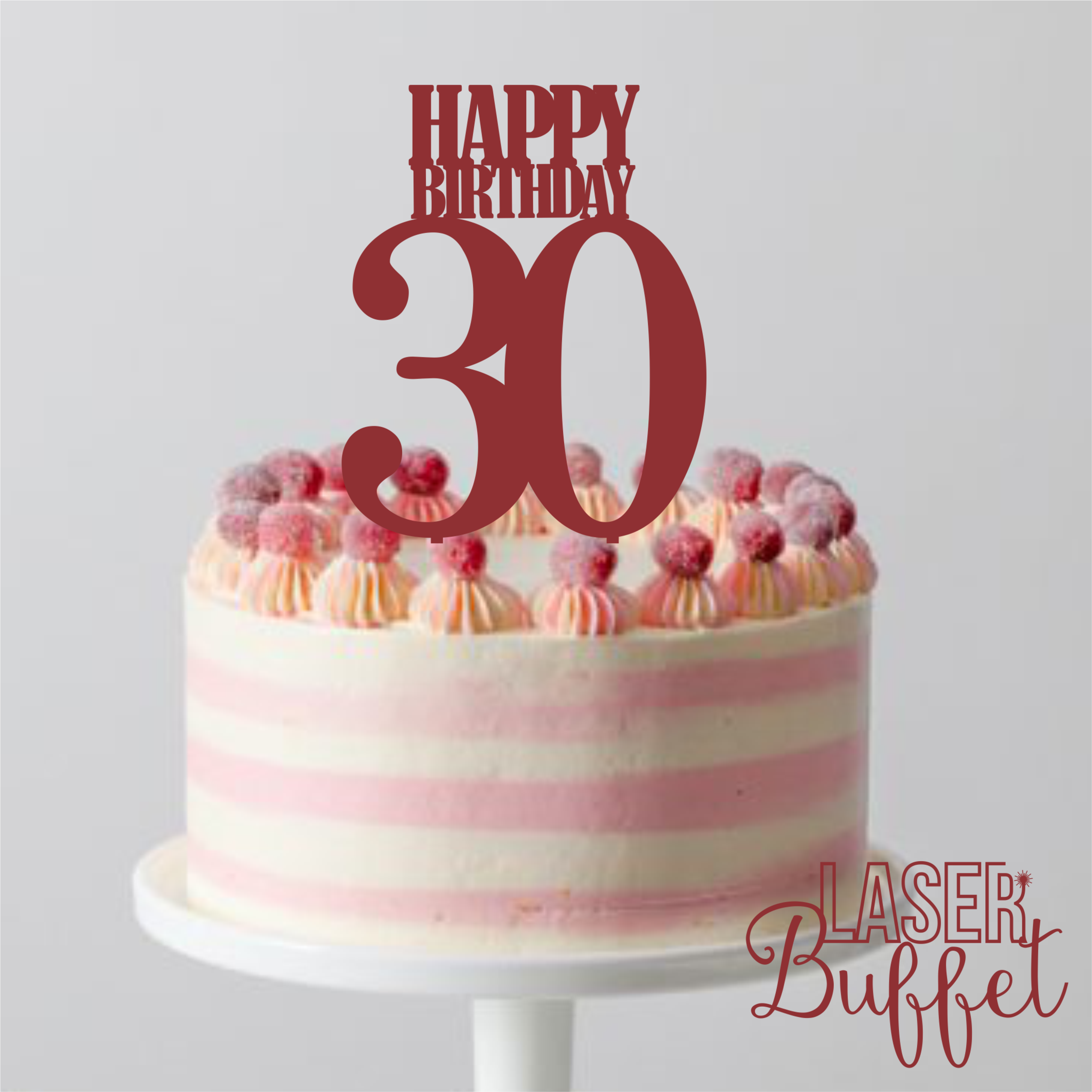 Laser Cut Happy Birthday 30 Cake Topper Template Shop Designs