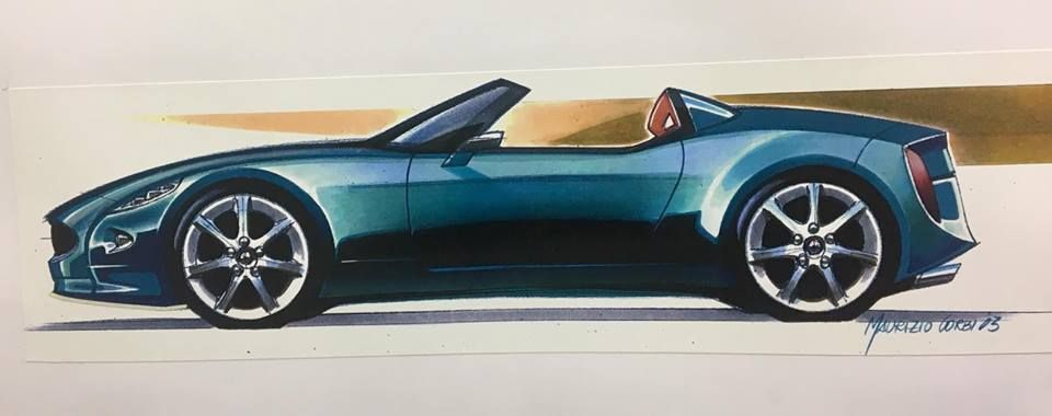 OG | 2003 Jaguar Coupé/Cabrio and Barchetta project | Design sketch by Pininfarina designer Maurizio Corbi.