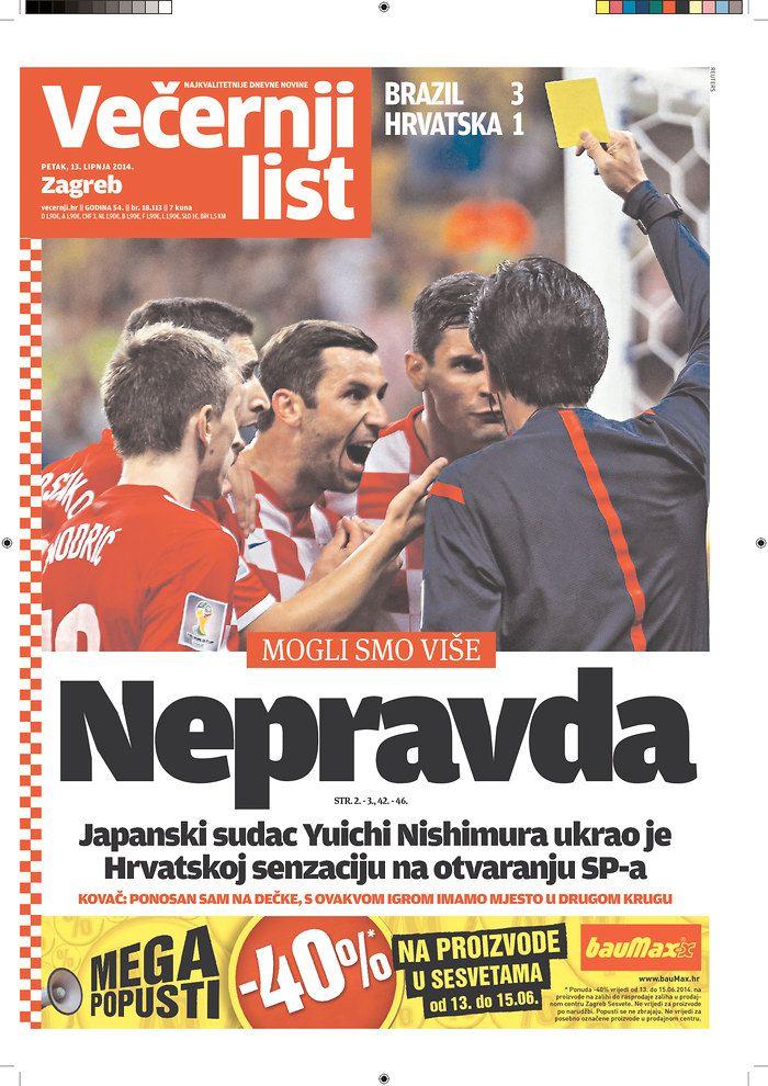 Vecernji List Zagreb Croatia Nepravda Means Injustice