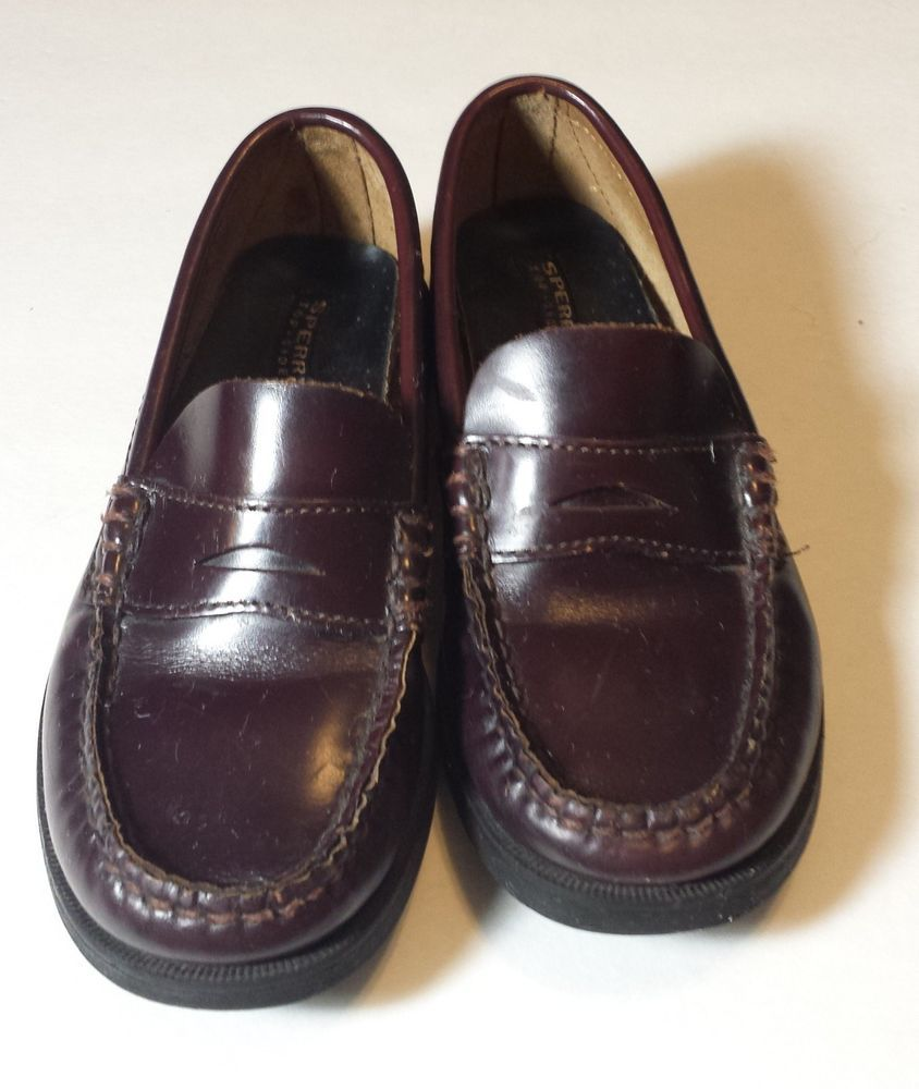 07806bcf1f1 SPERRY TOPSIDER Colton Burgundy Leather PENNY LOAFERS Boys Size 1M  Sperry   Loafers