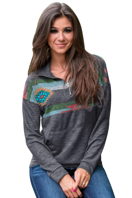 Trendy Aztec Print Atop Charcoal Pullover Sweatshirt