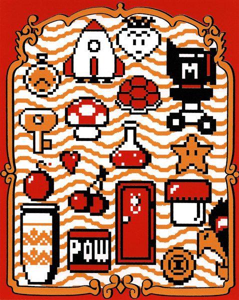 "The Essentials for Fun (Super Mario Bros. 2 inspired Silkscreen Print) - 8"" x 10"". $10.00, via Etsy."