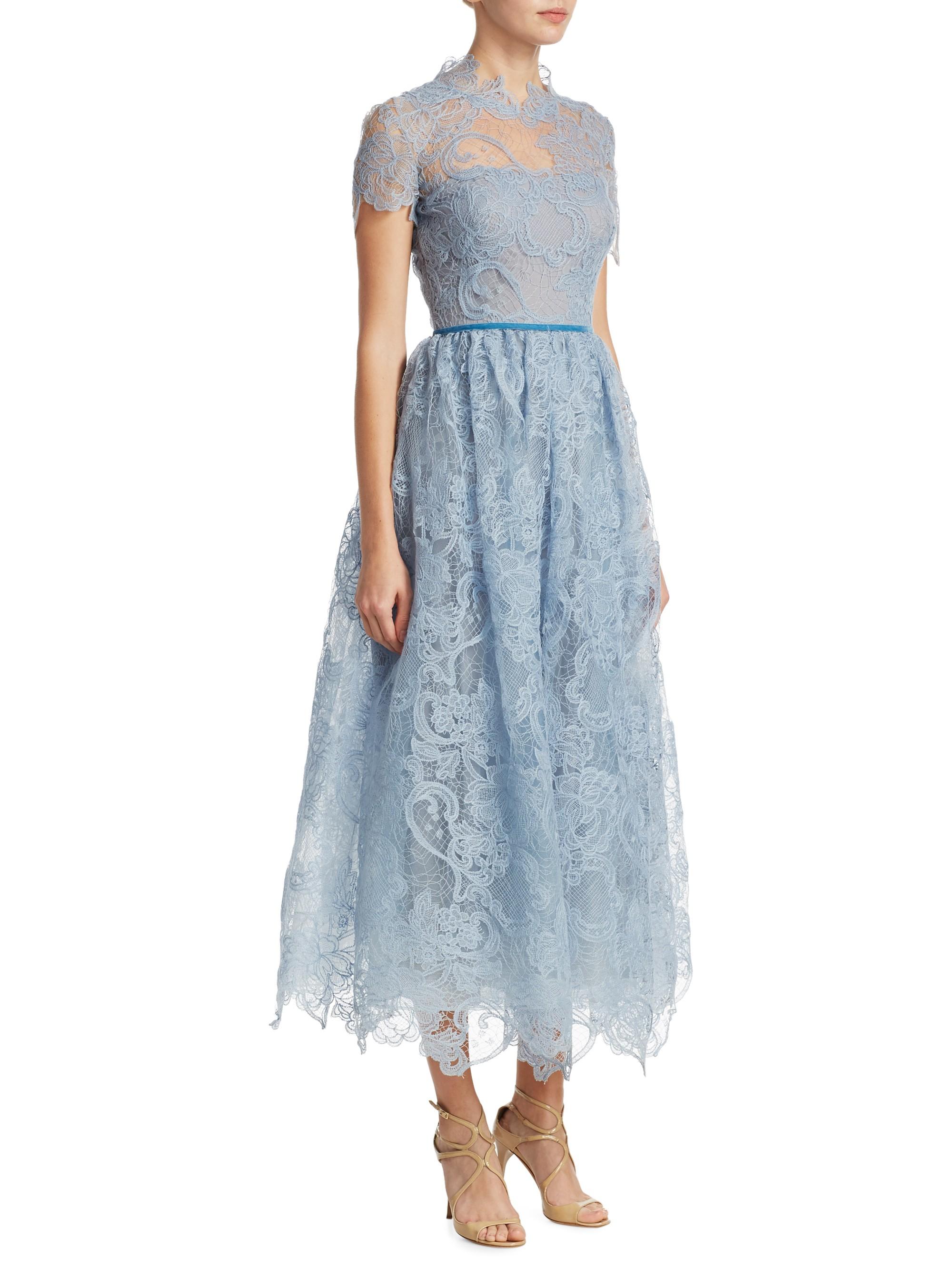 eb58bac20 Marchesa Notte Scalloped Lace Gown - Powder Blue 6