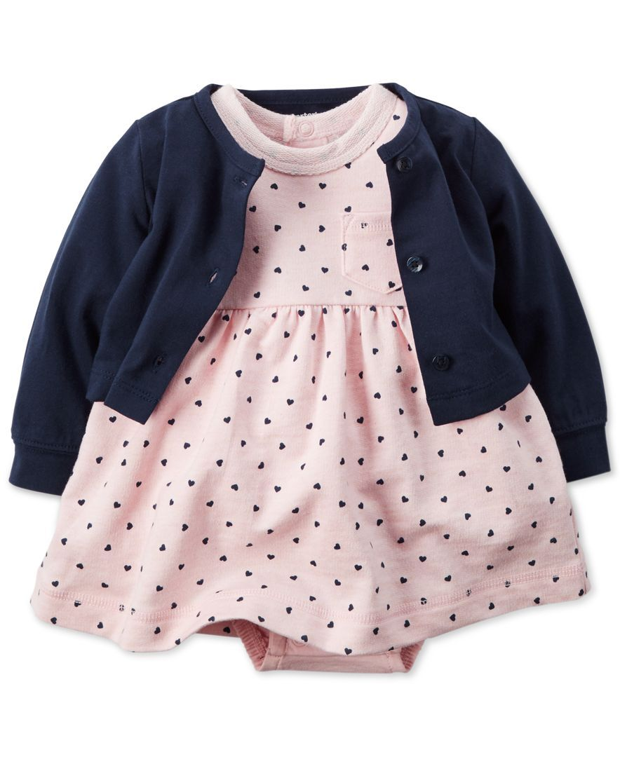 Carter's Baby Girls' 2-Piece Dot-Print Dress & Navy Sweater Set ...