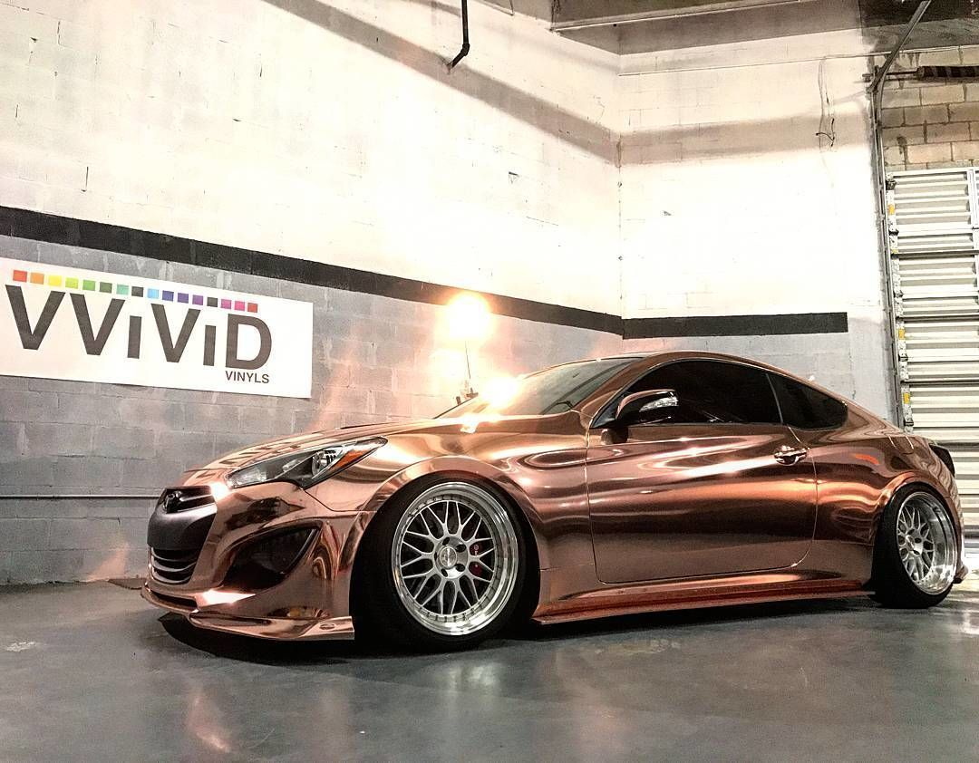 Beautiful Hyundai Genesis Coupe wrapped in Rose gold by