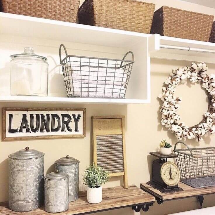 25 ways to give your laundry room a vintage makeover for Decorate a laundry room
