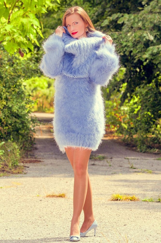 59f3fb900f Light blue hand knitted soft   fuzzy mohair cowl neck sweater dress by  SuperTanya ®. Themohair