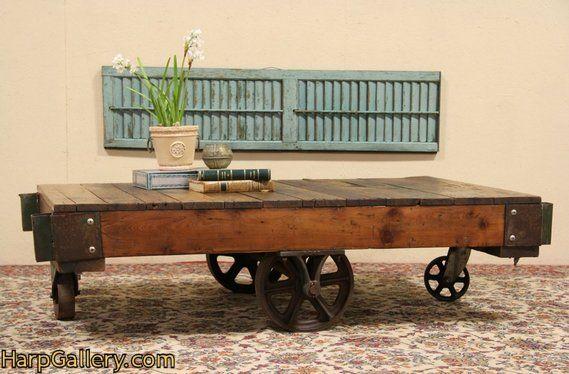 Awesome Industrial Salvage Antique Factory Cart Or Coffee Table Inzonedesignstudio Interior Chair Design Inzonedesignstudiocom