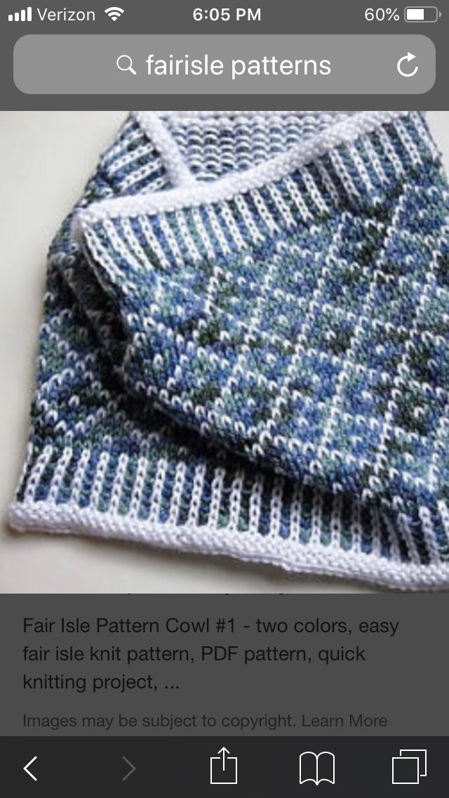 Two color cowl | Knit cowl pattern free, Fair isle ...