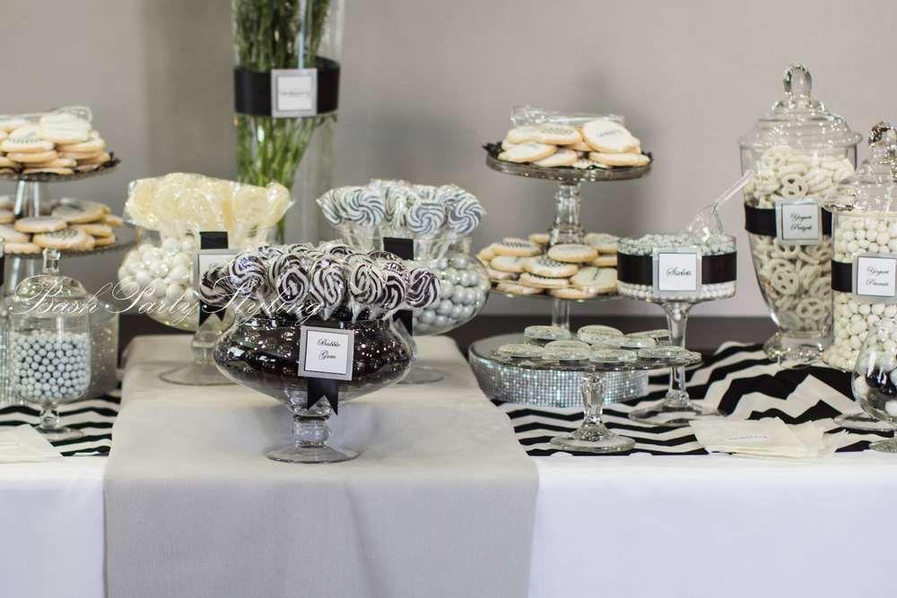 Grey black white chevron grand opening event party for Desserte salon
