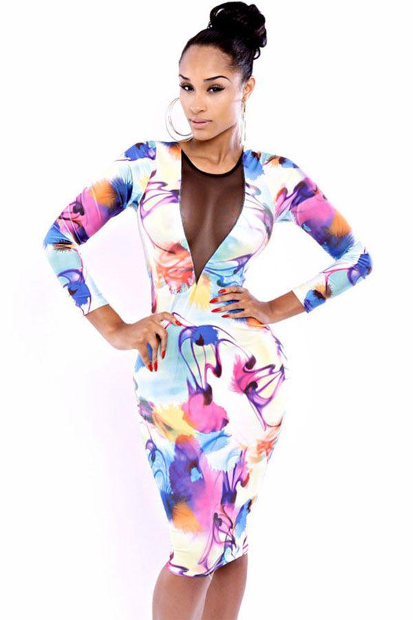 $28.99 Multi Color Ink Floral Print Bodycon Dress @ MayKool.com