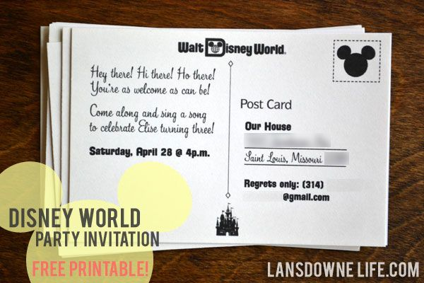 FREE printable Disney World postcard party invitation Birthday