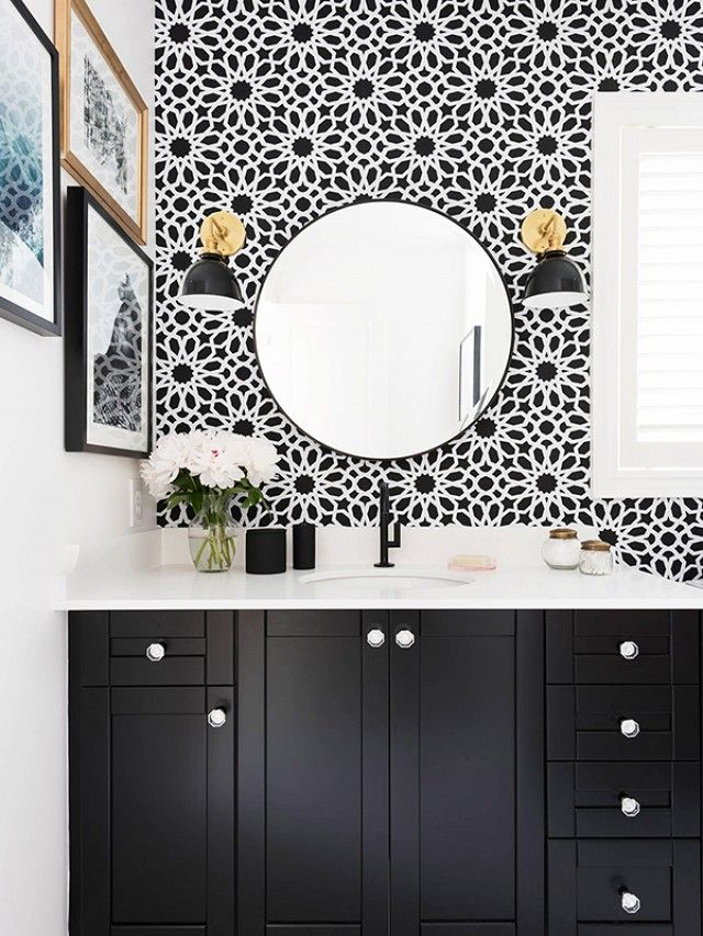 Before and After: An Affordable Black-and-White Bathroom | For the ...