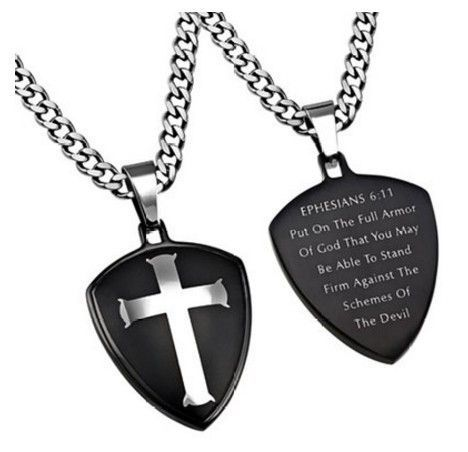 Stainless steel thick chain christian bible verse with armor of stainless steel thick chain christian bible verse with armor of god necklace negle Choice Image
