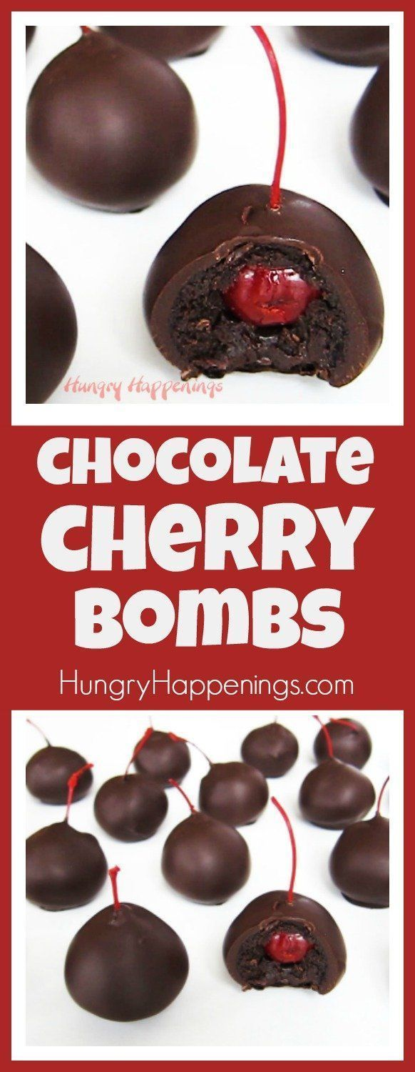 Chocolate Cherry Bombs - Cherry Filled Cake Balls Dipped in Chocolate   - Hungry Happenings Fun Party Food -