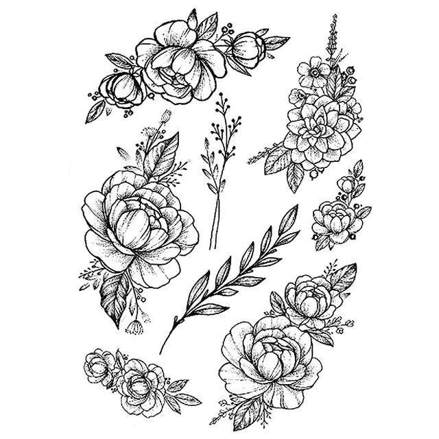 1 PC Fashion Women Girl Temporary Tattoo Sticker Black Roses Design Full Flower Arm Body Art Big Large Fake Tattoo Sticker - TY207