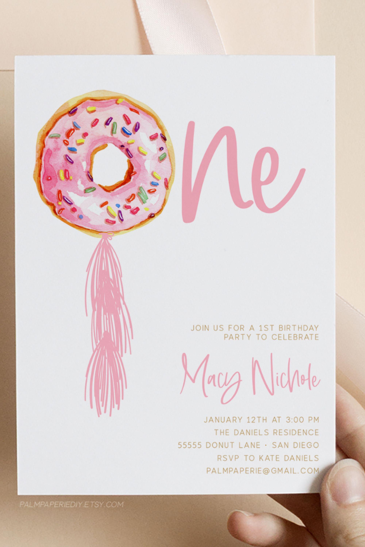 Donut 1st Birthday Invitation Girl Instant Download Template Etsy 1st Birthday Invitations Girl Donut Themed Birthday Party Birthday Invitations Girl