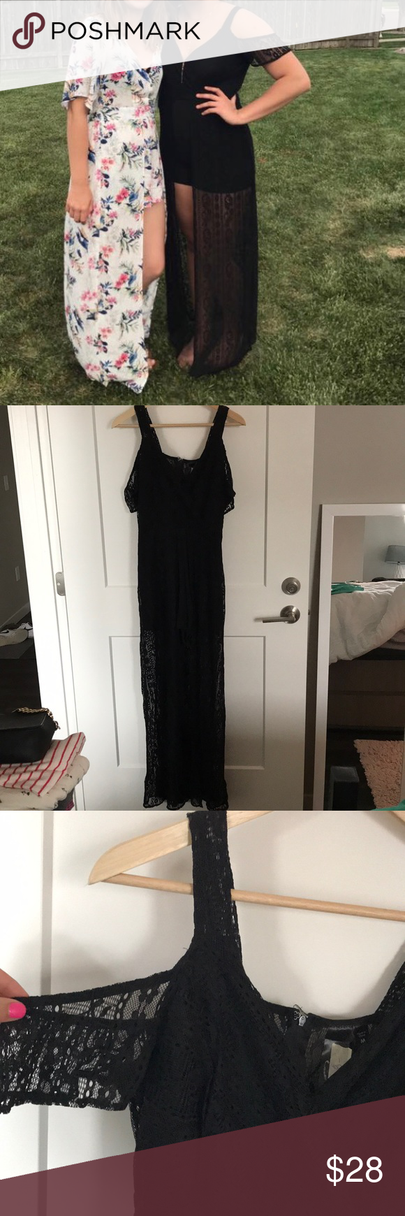 Black Lace Romper Chiffon Shorts under a lace skirt (open in front so you can see Shorts). Cold Shoulder. Worn once for event. Francesca's Collections Pants Jumpsuits & Rompers
