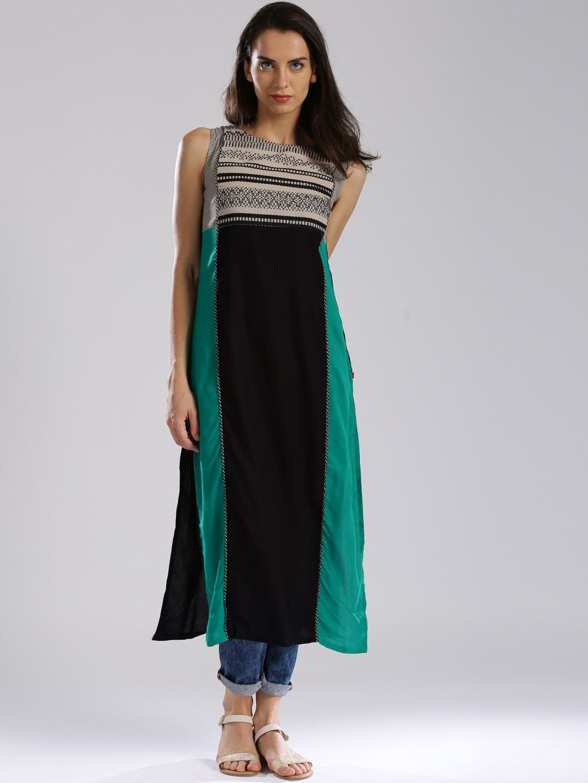f3bf13b4b Buy W Black Woven Pattern Kurta - Kurtas for Women | Myntra | Sale ...
