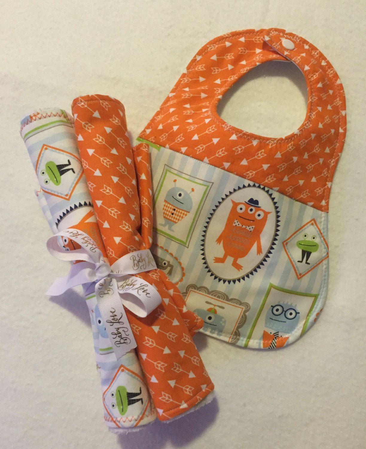 Baby Burp Cloth and Bib Set, Baby Boy Burp Cloth and Bib Set, Baby Girl Burp Cloth and Bib Set, Gender Neutral Set, Orange Monsters. by SassyCecyBabyShop on Etsy