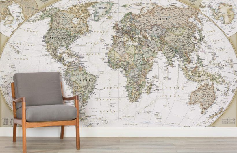 Traditional old style world map mural muralswallpaper gumiabroncs Choice Image