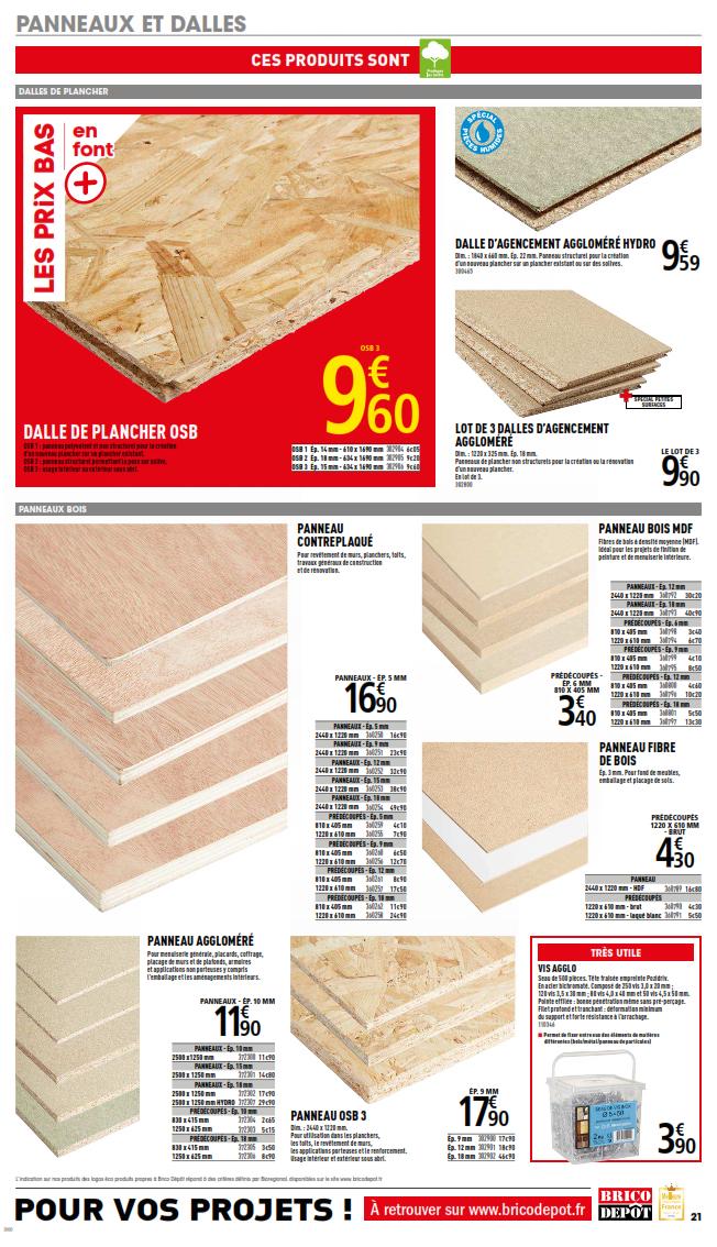 Brico Depot Les Prix Trop Saisissants Cataloguespromo Com Plancher Osb Panneau Fibre De Bois Dalle De Plancher