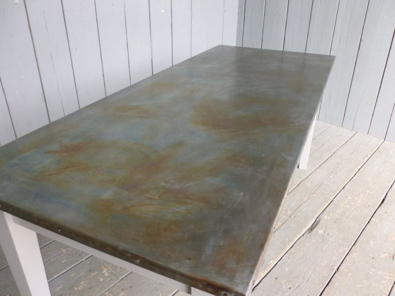 Marvelous Zinc Table Top Care Dining Durability Antiqued Tops Topped For Sale