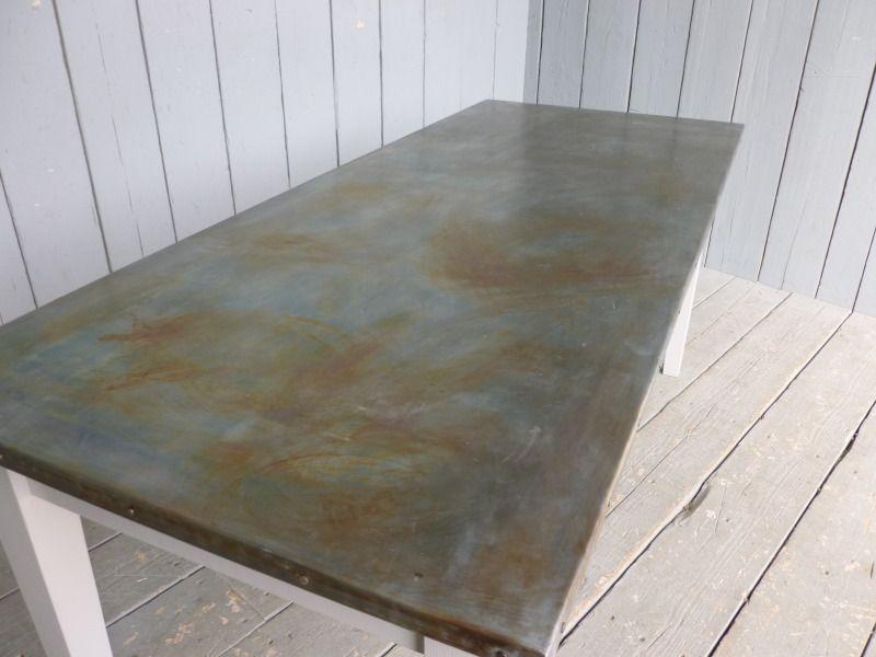 Zinc And Copper Topped Tables Zinc Table Top Zinc Table Zinc Bar Top