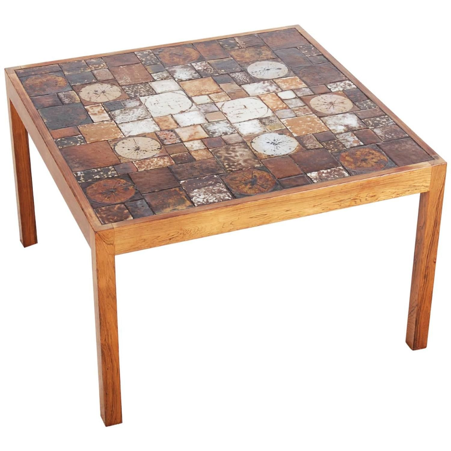 Danish Rosewood Coffee Table With Ceramic Tiles, 1960s