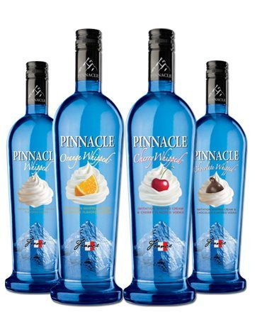Pinnacle Whipped, Orange Whipped, Cherry Whipped and Chocolate Whipped Vodka