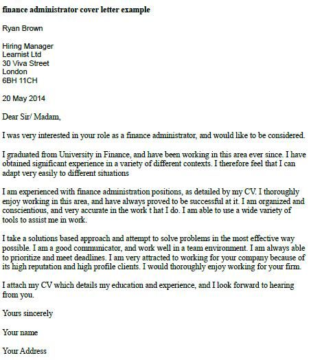 Finance Administrator Cover Letter Example  Misc