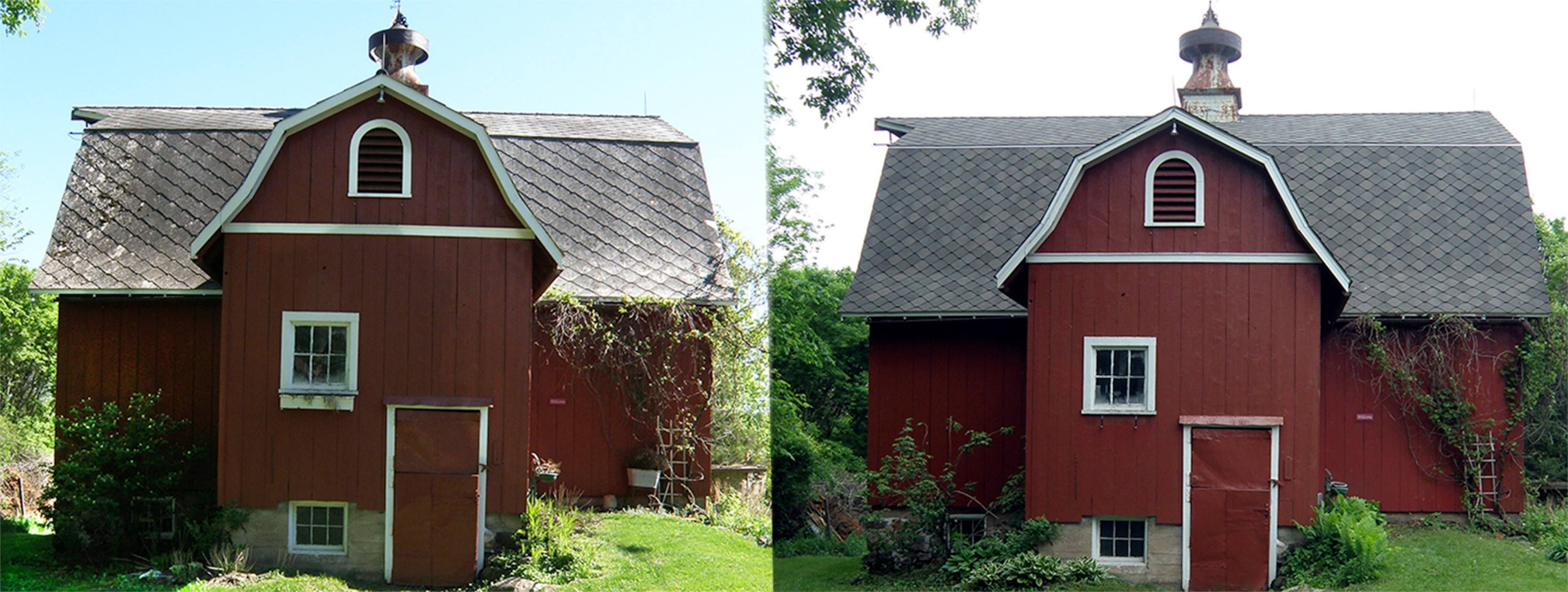 Before after pics of a barn in hudson wi with gaf for Gaf sienna shingles