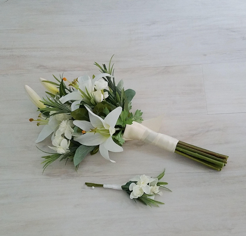 White Lily Bridal Bouquet silk Casablanca winter